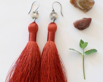 Extra Long Tassel Earrings, Rusty Red Tassels with tiny coins on french ear wires