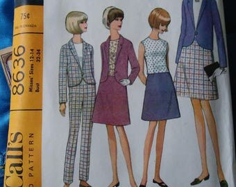 1960s McCall's 8636 Misses ensemble pattern size 12-14 skirt jacket top and pants