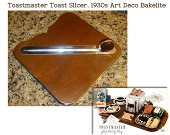 Art Deco Bakelite, Chrome and Wood Toast Cutter. 6 Inch Square. Toastmaster Toast Cutter. Circa 1937. Elgin. Vintage Kitchen Serving Piece.