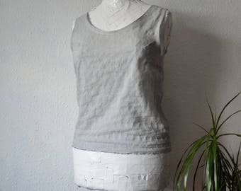 Cotton blouse light grey summer tank vest natural top sustainable boho minimalist fashion shirts womens garments crinkle textured ethical