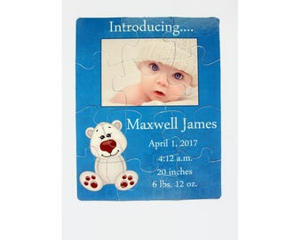 12 Piece Baby Announcement Puzzle, Birth Announcement