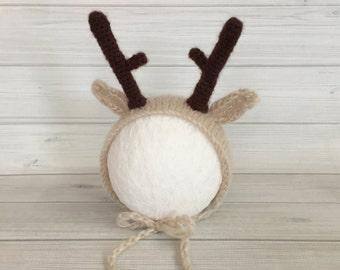 On sale & Ready to ship! Newborn Deer Hat, Reindeer Bonnet, newborn deer hat photography prop, Christmas newborn prop