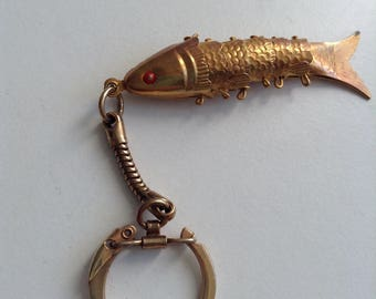Articulated fish charm Keychain.  Vintage