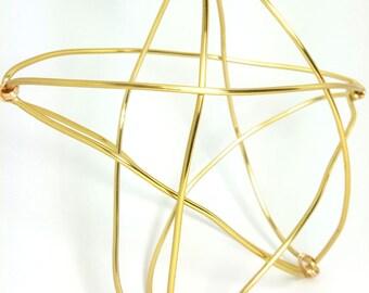 Modern Gold Wire Star Tree Topper -  metal star handmade tree topper - small / medium - golden basket style 3-d Star -1212A