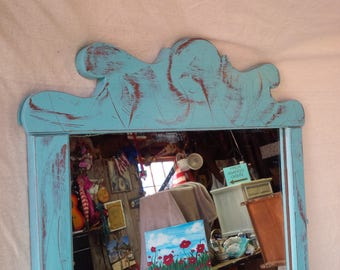 Mirror Farmhouse Mirror Blue Skies Distressed Finish Vintage Beach Cottage Maple Wood Poppy Cottage Painted Furniture