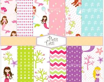 ON SALE Mermaid Digital paper pack, Mermaids girls backgrounds, digital scrapbook paper, Mermaids girls pattern, summer background