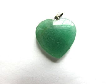 Chrysoprase Puffy Heart Charm Green Quartz Jadeite Pendant Assemblage Jewelry Supply Gemstone