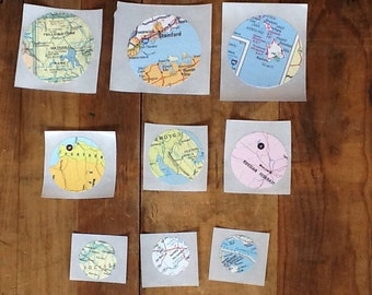 set of 20 vintage map stickers in assorted sizes