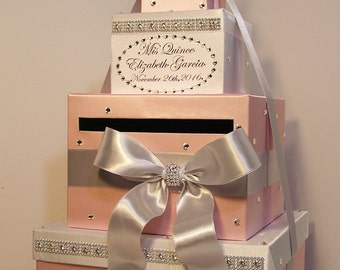 Quinceañera / Sweet 16 / Birthday Card Box Blush pink White and Silver Gift Card Box Money Box  Holder--Customize in your color-Custom Made