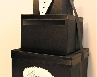 Tuxedo style wedding card box Wedding Card Box Black and White Groom Gift Card Box Money Box Holder--Customize your color