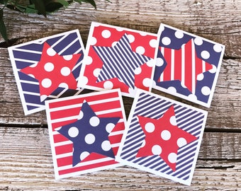 Red white and Blue stars & Stripes Mini Note Cards with stars - Set of 5 - with white Envelopes - Patriotic Gift set