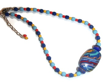 Bright Colorful Lampwork Focal Czech Glass Primary Color Choker Necklace