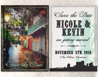 New Orleans Save the Date Wedding Flat Card with Envelope Custom Double Sided French Quarter