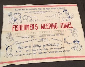 Vintage fishermen's crying towel tea kitchen kitsch fish stories