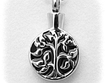 """Stainless Steel - Silver on Black """"Tree Of Life"""" Cremation Urn on 24"""" Ball-Chain Necklace - with Velvet Pouch"""