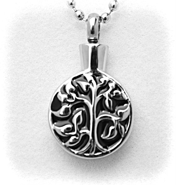 "Stainless Steel - Silver on Black ""Tree Of Life"" Cremation Urn on 24"" Ball-Chain Necklace - with Velvet Pouch"