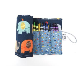 Crayon Roll - Elephants -  24 crayons, animal party favor, toddler gift, stocking stuffer, rollerbottle holder,