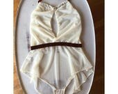 sheer lingerie romper with plunging convertible neckline and stretch velvet waistband JESTER - made to order