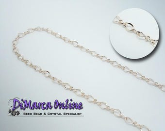 Rhombus Chain 5x4 mm Rose Gold Plated - 1 meter