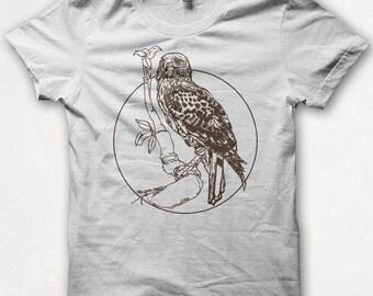 Womens Tshirt, Redtailed Hawk, Bird Shirt, Screenprint, Graphic Tee - White