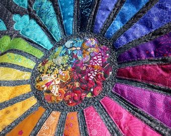 MarveLes THROW QUILT Rainbow Cathedral Alison Glass Sun Prints Ex Libris Fusible Applique multi colored hues on gray background