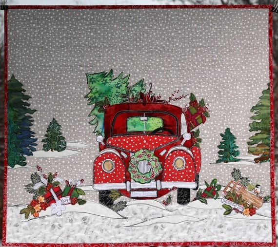 Quilt Christmas Tree Red Truck Winter Scene Holiday Wall