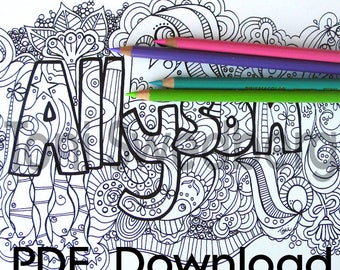 Allyson - Name Art - One Coloring Page - PDF Download - Hand Drawn Image