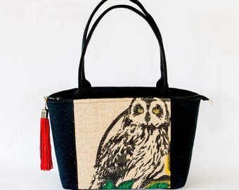 Recycled Coffee Bag - Owl Purse - zip top closure