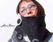 Merino Wool Cowl Women - Wearable Felt Art Scarf Cowl - Autumn Winter Neck Piece - Black White Gray Paris Design- Original OOAK