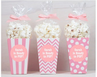 12 custom popcorn box favors labels baby shower favors ready to pop