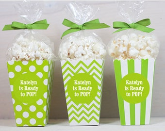 12 Custom Popcorn Box Favors - Baby Shower Favors - Personalized Boxes - Popcorn Favors - Lime Green Popcorn Boxes - Baby Favors