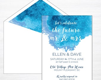 Engagement Party Invitation, Engagement Invitation, Rehearsal Dinner Invite, Watercolor Invitation, Blue Watercolor Invite, Modern Invite