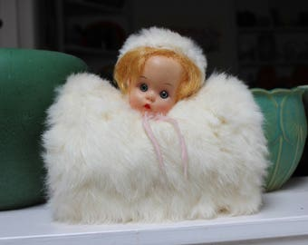 Hand Muff Rabbit Fur with Dolls Head 1950s VINTAGE by Plantdreaming