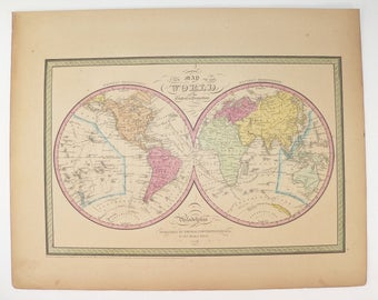 Original 1852 Antique World Map of the World, Hemisphere Map 1852 Mitchell Cowperthwait Map, Old World Map Unique Guy Gift for Office Art