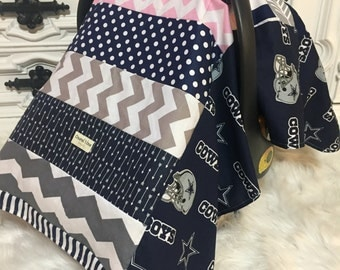 Dallas Cowboys car seat cover / OOAK / RTS / carseat canopy / nursing cover / infant car seat canopy / carseat cover