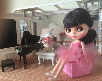 Tutu for Blythe in old rose works with Pullip, BJD and other 1/6th scale  Dolls