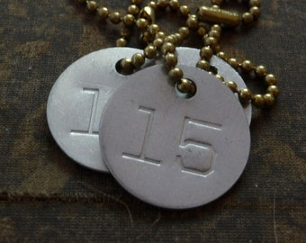 Vintage number tag, number 15, vintage tag, aluminum number tag, sheep, cow, livestock tag