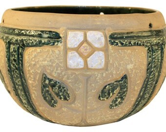 Roseville Pottery Mostique Tan White Rose Medium Hanging Basket