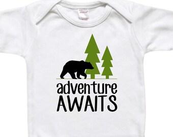 Baby Bodysuit - Baby Gift - Toddler Shirt T-Shirt - Adventure Awaits - Bear Trees Woods