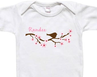 Personalized Baby Bodysuit - Toddler Shirt - Baby Shower Gift - Bird on Cherry Blossom Branch Pink