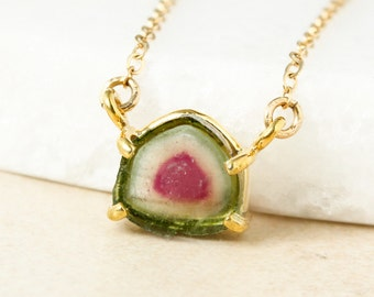 AAA Grade Watermelon Tourmaline Slice Necklace - Rose Gold  - 14kt Gold Fill