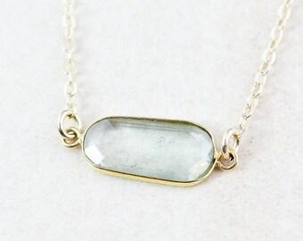 VALENTINE SALE Sage Green Tourmaline Necklace - Organic Shape - 14K Gf