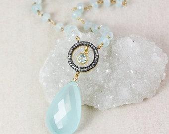 20% OFF SALE Aqua Chalcedony Layering Necklace – Pave White Topaz – Aqua Chalcedony Chain