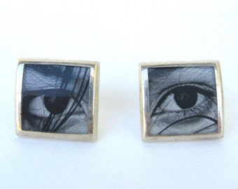 vintage ear wear   ...     artisan earrings  ...  sterling silver and tiny photograph  ...   eyes