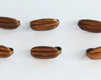 Vintage Aged Brass Jewelry Clasp 6 Oval Ridged Clasps • 14mm