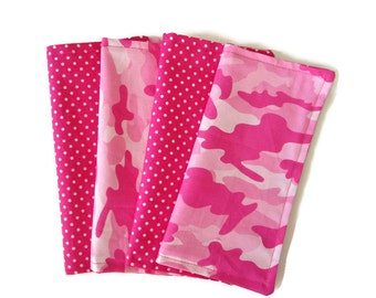 Kids Cloth Napkins, Cotton Reversible Napkins, Set of 4, Pink Camo Print, Double Sided Lunchbox Napkins,  Reusable, Girls, Washable