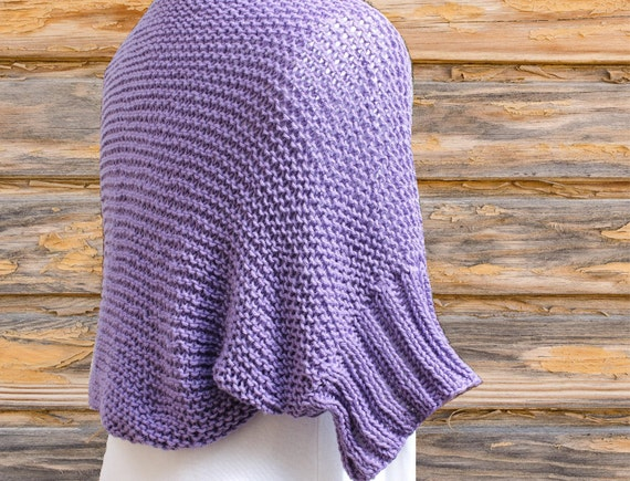 Cotton Knitting Patterns : Knit Shrug Pattern Cotton Knitted Shrug with Ribbed Sleeves
