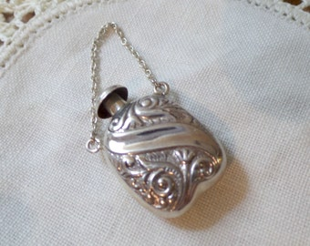 Vintage Sterling Silver Baroque Art Nouveau Perfume Decanter Snuff Bottle Flask Pendant Charm