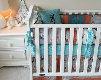 teal crib bedding | etsy