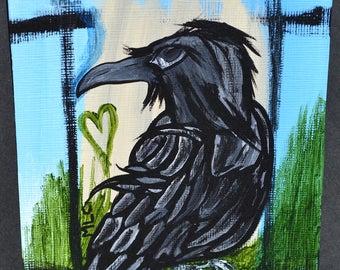 Black Bird/Crow Art, Nature/Wildlife, Original, Acrylic Painting, Be Fearless